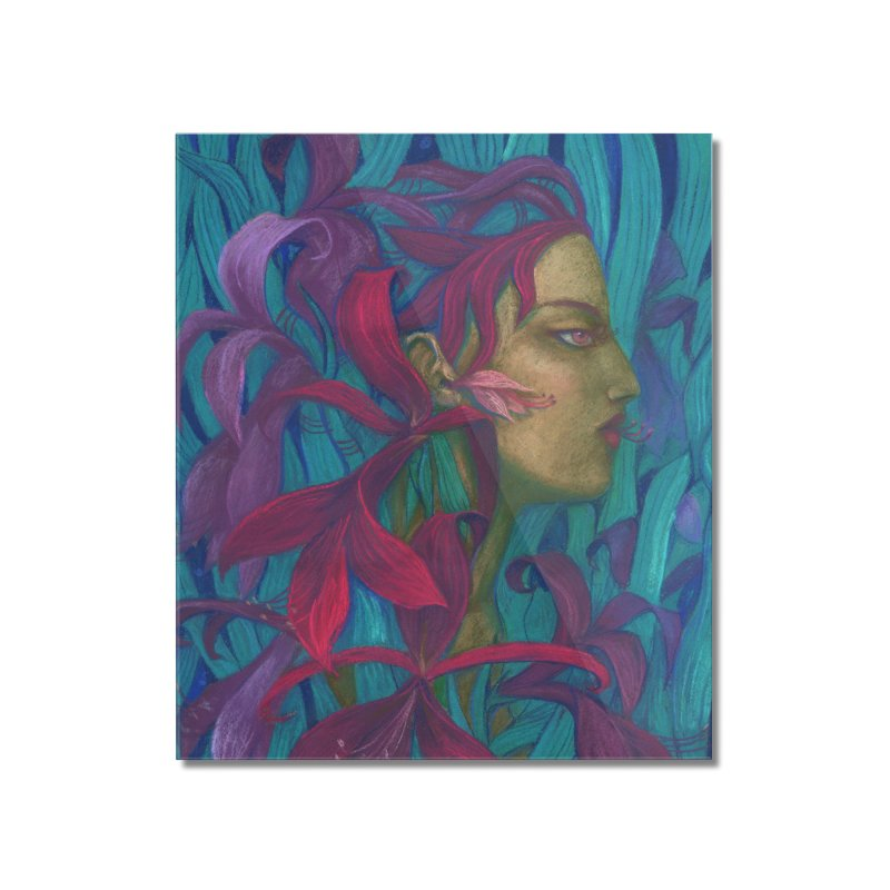 Amaryllis Flower Goddess Fantasy Surreal Painting Home Mounted Acrylic Print by Clipso-Callipso