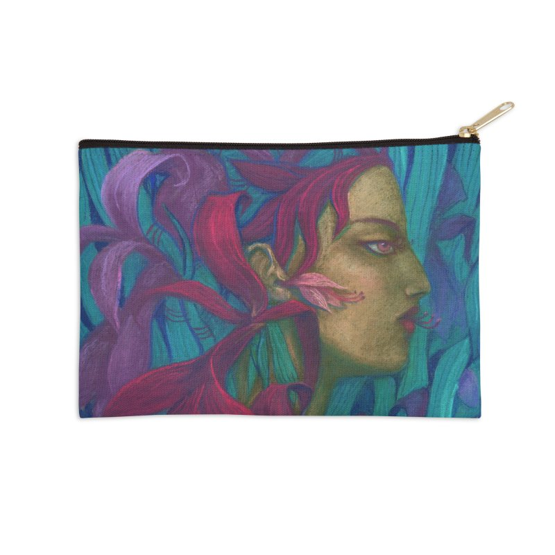 Amaryllis Flower Goddess Fantasy Surreal Painting Accessories Zip Pouch by Clipso-Callipso