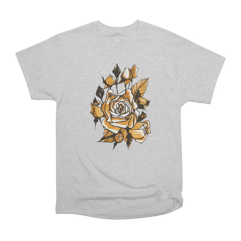 Roses, Floral Art Marker Sketch, graphic art, black, white and ocher Men's T-Shirt by Clipso-Callipso