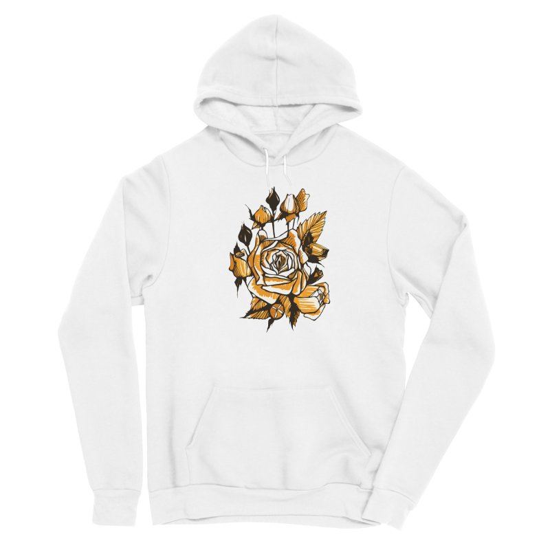Roses, Floral Art Marker Sketch, graphic art, black, white and ocher Men's Pullover Hoody by Clipso-Callipso
