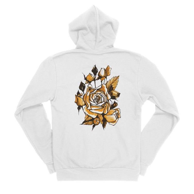 Roses, Floral Art Marker Sketch, graphic art, black, white and ocher Men's Zip-Up Hoody by Clipso-Callipso