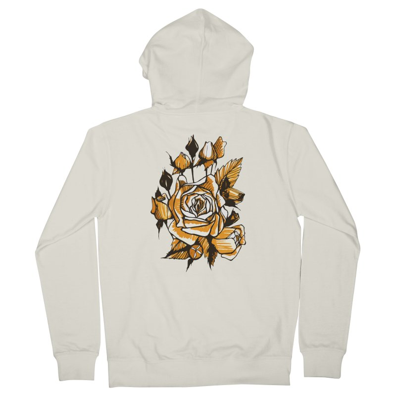 Roses, Floral Art Marker Sketch, graphic art, black, white and ocher Women's Zip-Up Hoody by Clipso-Callipso