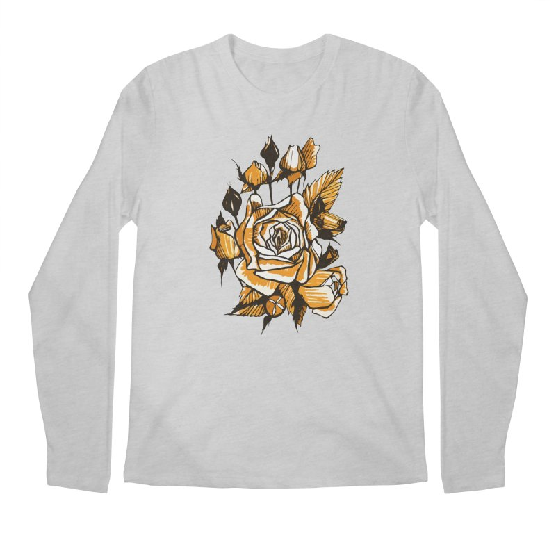 Roses, Floral Art Marker Sketch, graphic art, black, white and ocher Men's Longsleeve T-Shirt by Clipso-Callipso