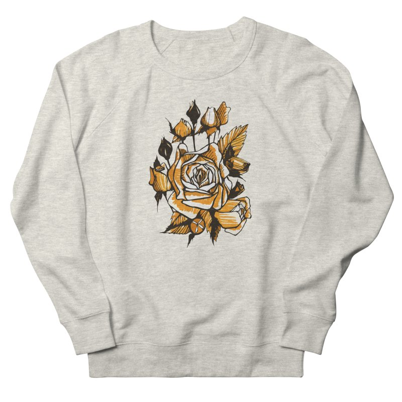 Roses, Floral Art Marker Sketch, graphic art, black, white and ocher Women's Sweatshirt by Clipso-Callipso