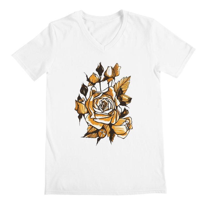 Roses, Floral Art Marker Sketch, graphic art, black, white and ocher Men's V-Neck by Clipso-Callipso