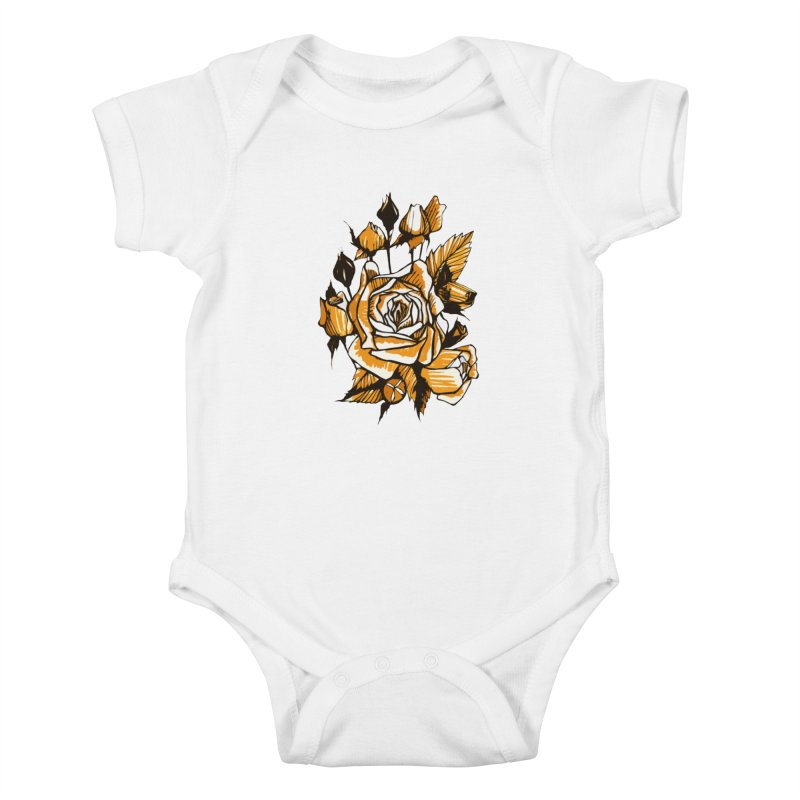 Roses, Floral Art Marker Sketch, graphic art, black, white and ocher Kids Baby Bodysuit by Clipso-Callipso