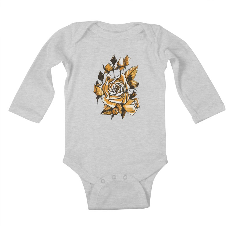 Roses, Floral Art Marker Sketch, graphic art, black, white and ocher Kids Baby Longsleeve Bodysuit by Clipso-Callipso