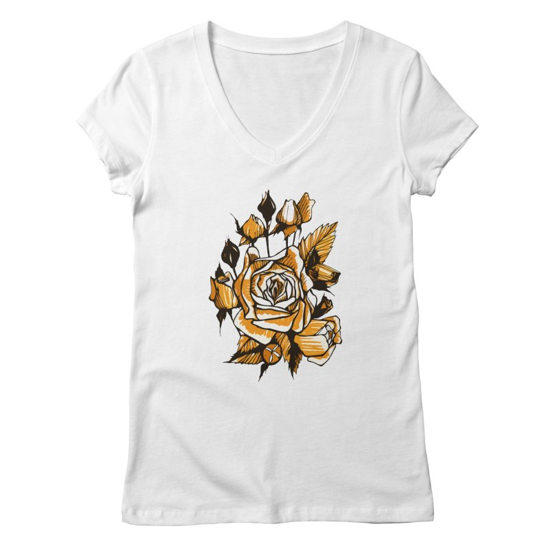 Roses, Floral Art Marker Sketch, graphic art, black, white and ocher Women's V-Neck by Clipso-Callipso