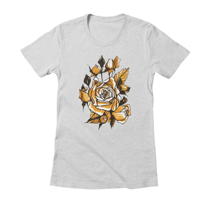Roses, Floral Art Marker Sketch, graphic art, black, white and ocher Women's T-Shirt by Clipso-Callipso