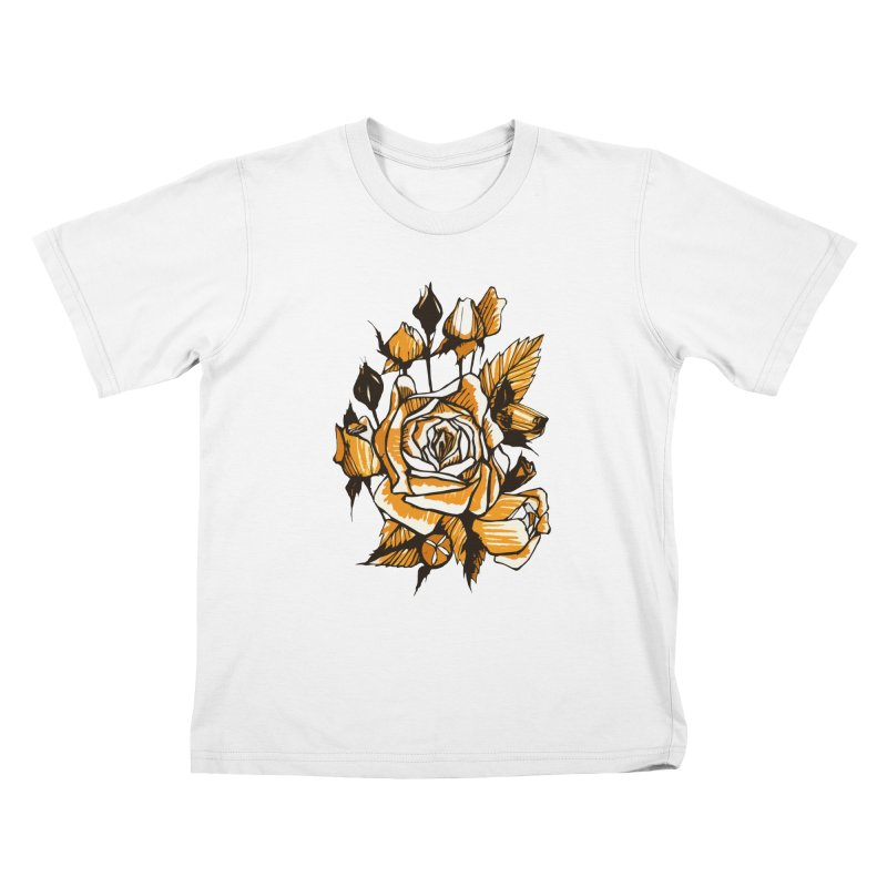 Roses, Floral Art Marker Sketch, graphic art, black, white and ocher Kids T-Shirt by Clipso-Callipso