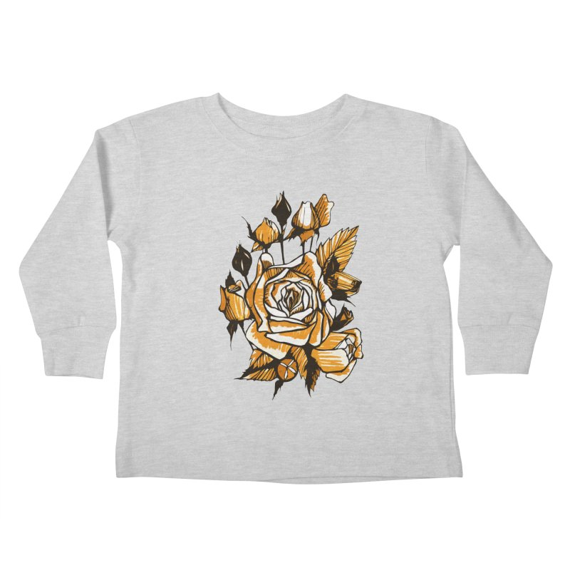 Roses, Floral Art Marker Sketch, graphic art, black, white and ocher Kids Toddler Longsleeve T-Shirt by Clipso-Callipso