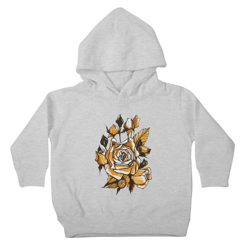 Roses, Floral Art Marker Sketch, graphic art, black, white and ocher Kids Toddler Pullover Hoody by Clipso-Callipso