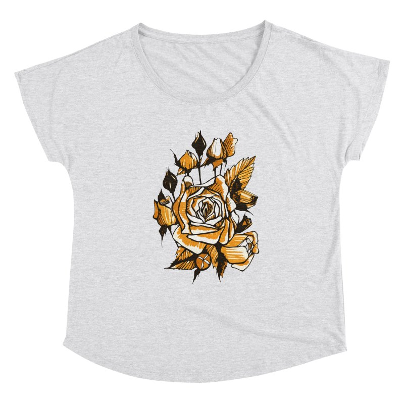 Roses, Floral Art Marker Sketch, graphic art, black, white and ocher Women's Scoop Neck by Clipso-Callipso