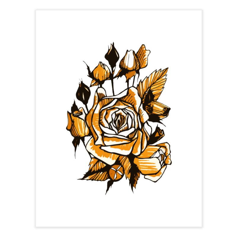 Roses, Floral Art Marker Sketch, graphic art, black, white and ocher Home Fine Art Print by Clipso-Callipso