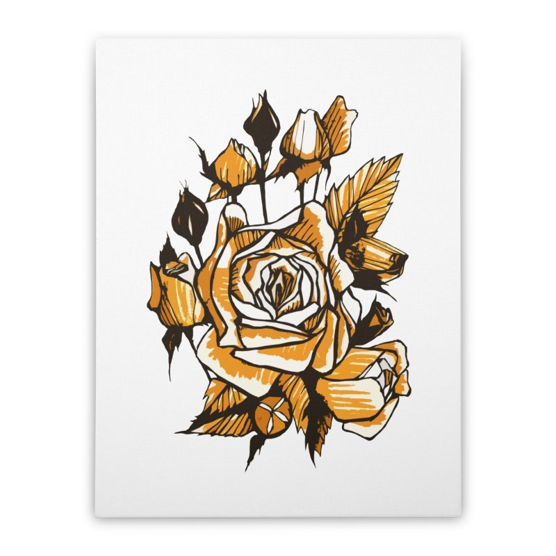 Roses, Floral Art Marker Sketch, graphic art, black, white and ocher Home Stretched Canvas by Clipso-Callipso