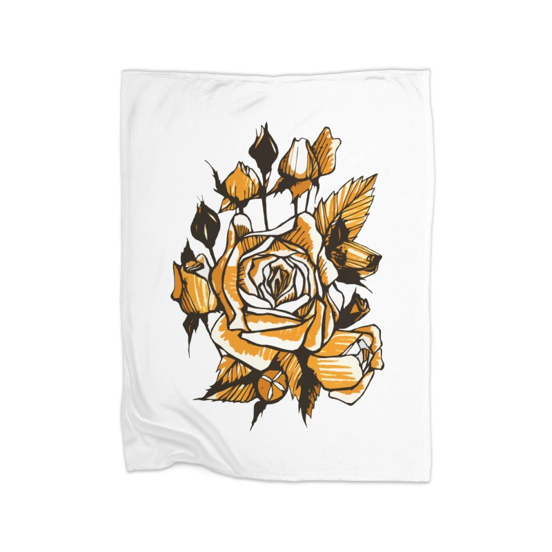 Roses, Floral Art Marker Sketch, graphic art, black, white and ocher Home Blanket by Clipso-Callipso