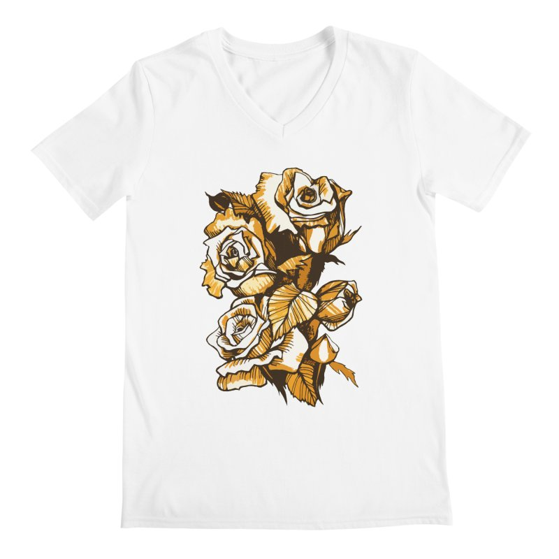 Blooming Roses, Floral Art Ink Markers Sketch Men's V-Neck by Clipso-Callipso