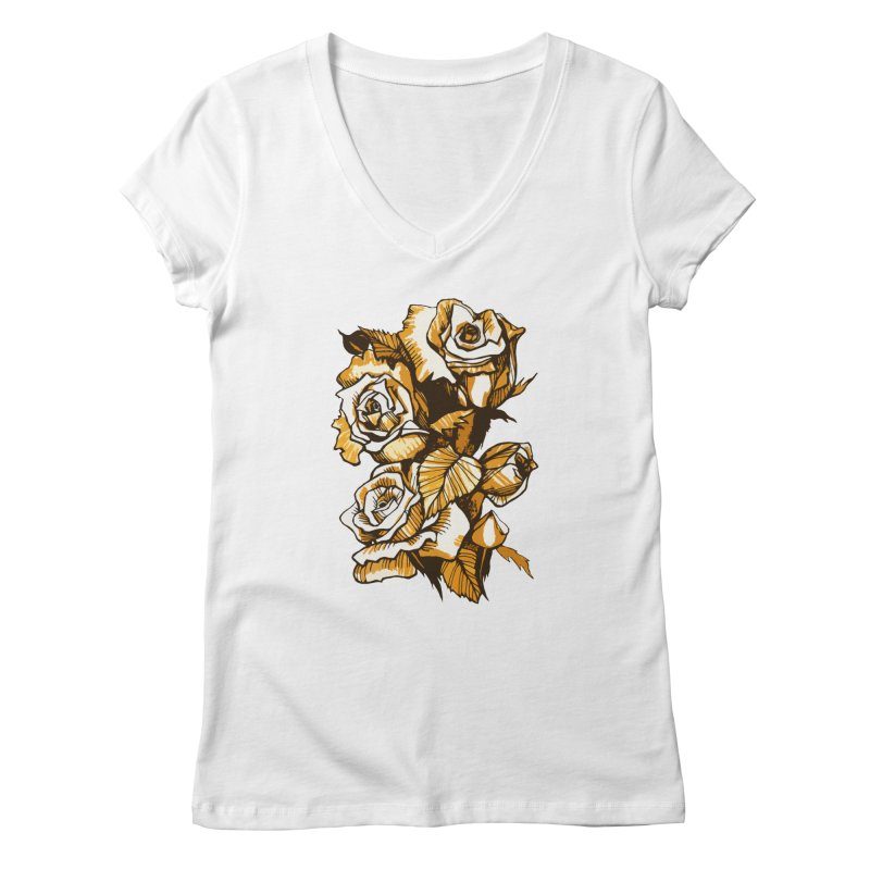 Blooming Roses, Floral Art Ink Markers Sketch Women's V-Neck by Clipso-Callipso