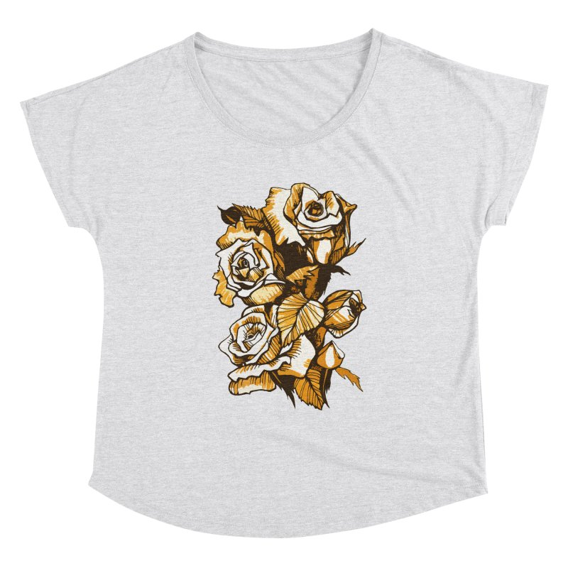 Blooming Roses, Floral Art Ink Markers Sketch Women's Scoop Neck by Clipso-Callipso