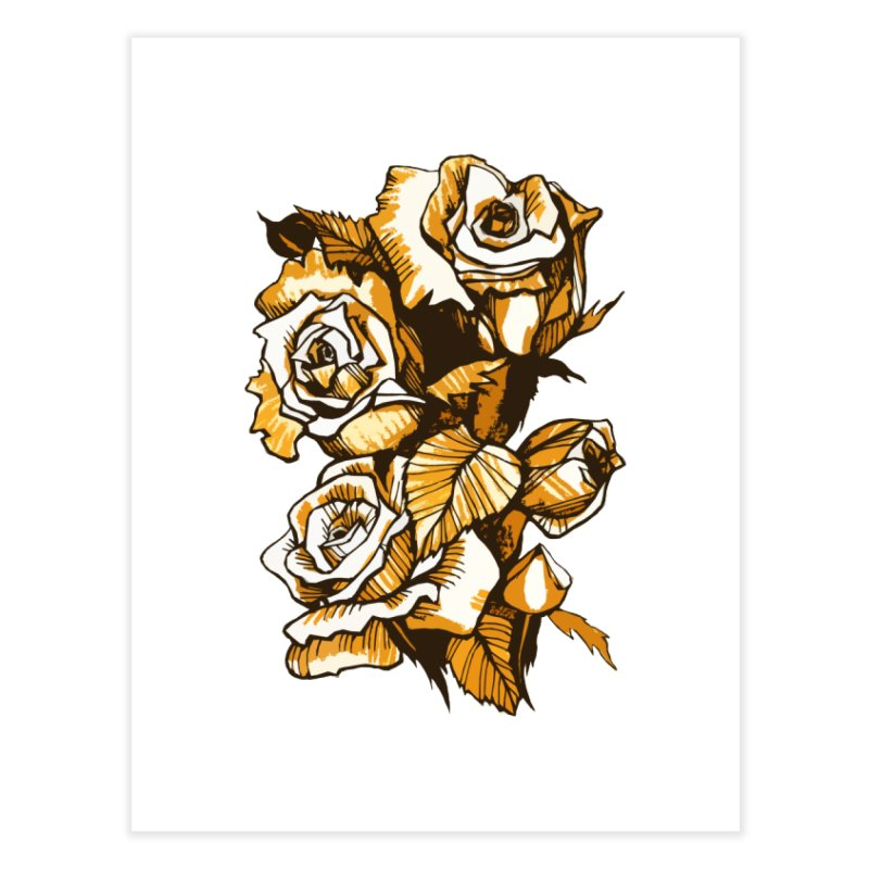 Blooming Roses, Floral Art Ink Markers Sketch Home Fine Art Print by Clipso-Callipso