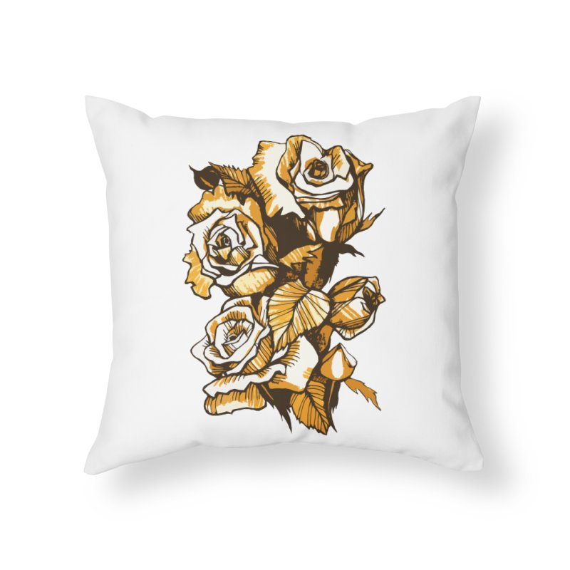 Blooming Roses, Floral Art Ink Markers Sketch Home Throw Pillow by Clipso-Callipso
