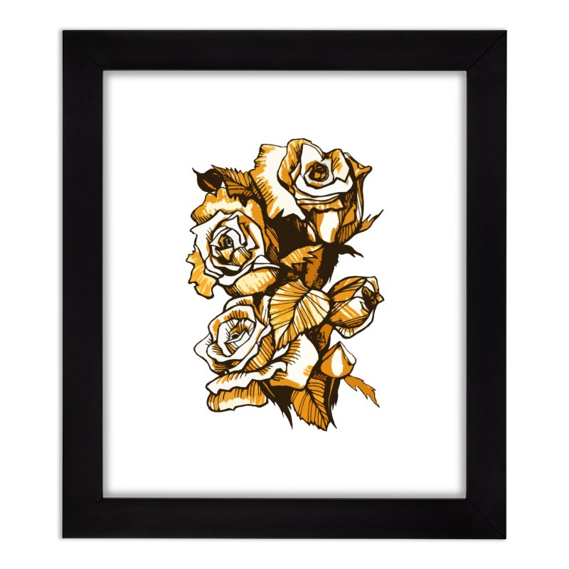 Blooming Roses, Floral Art Ink Markers Sketch Home Framed Fine Art Print by Clipso-Callipso