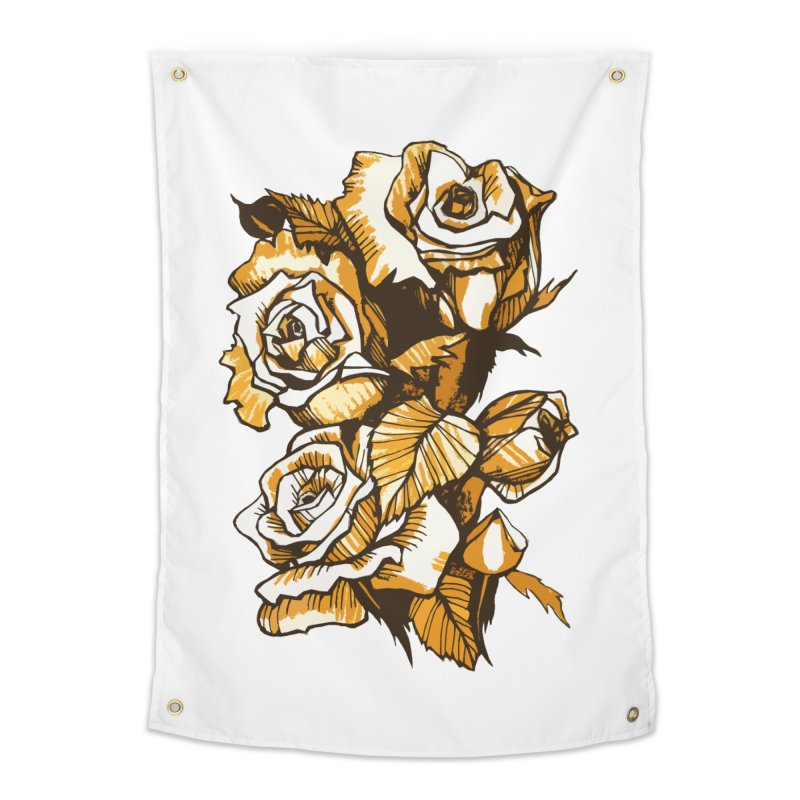 Blooming Roses, Floral Art Ink Markers Sketch Home Tapestry by Clipso-Callipso