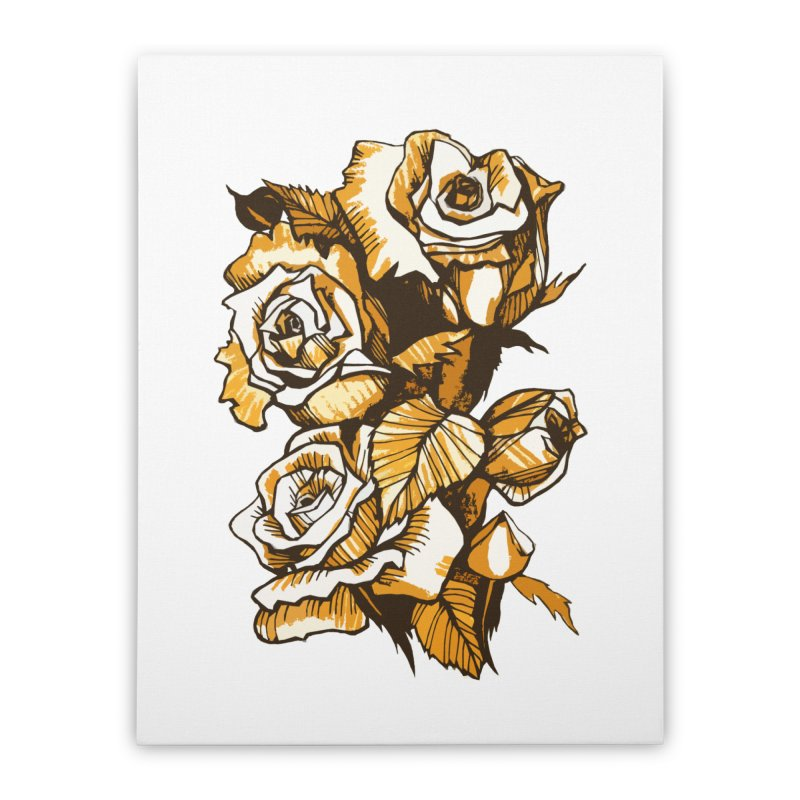 Blooming Roses, Floral Art Ink Markers Sketch Home Stretched Canvas by Clipso-Callipso