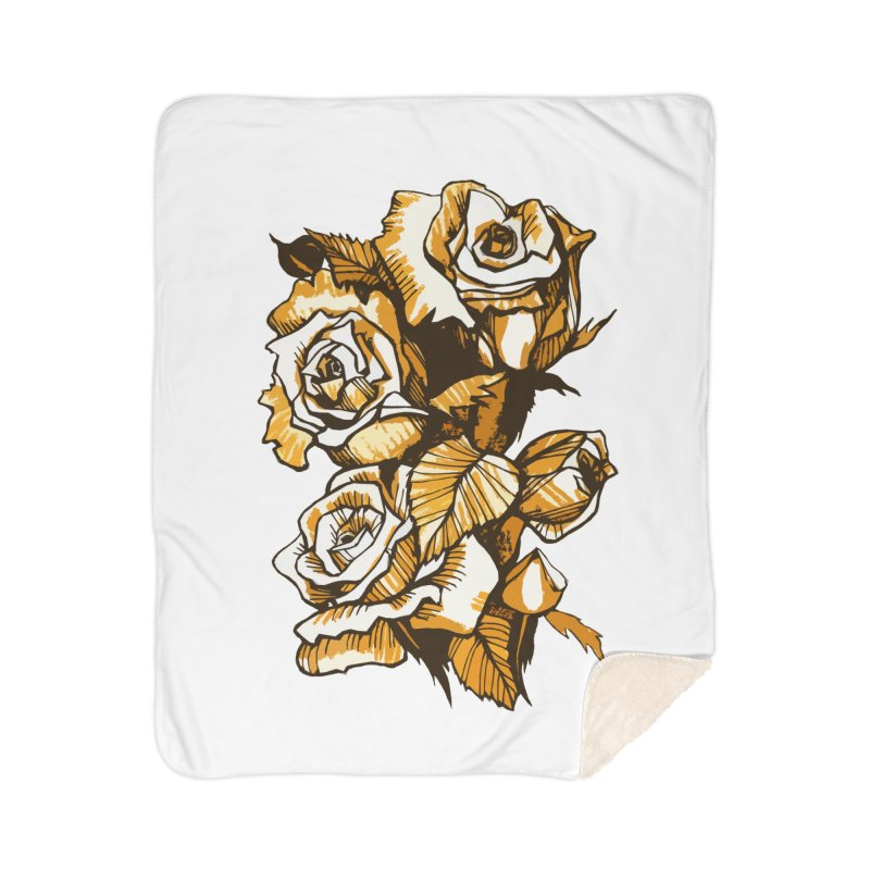 Blooming Roses, Floral Art Ink Markers Sketch Home Blanket by Clipso-Callipso