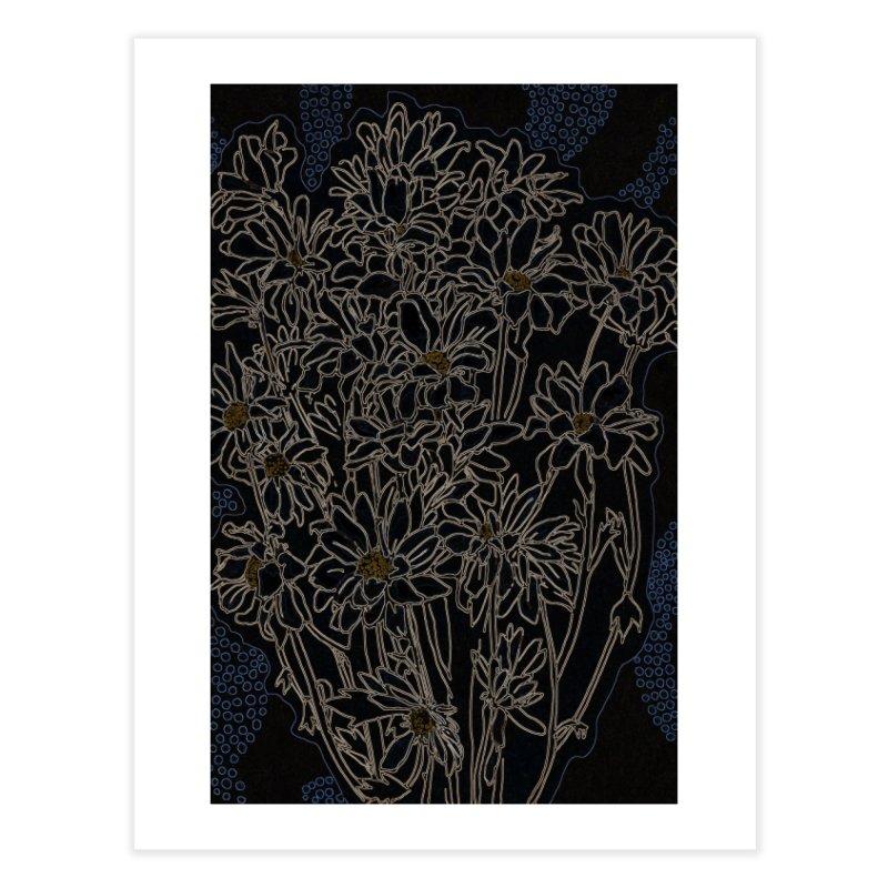 Daisy Chrysanthemum, black Home Fine Art Print by Clipso-Callipso