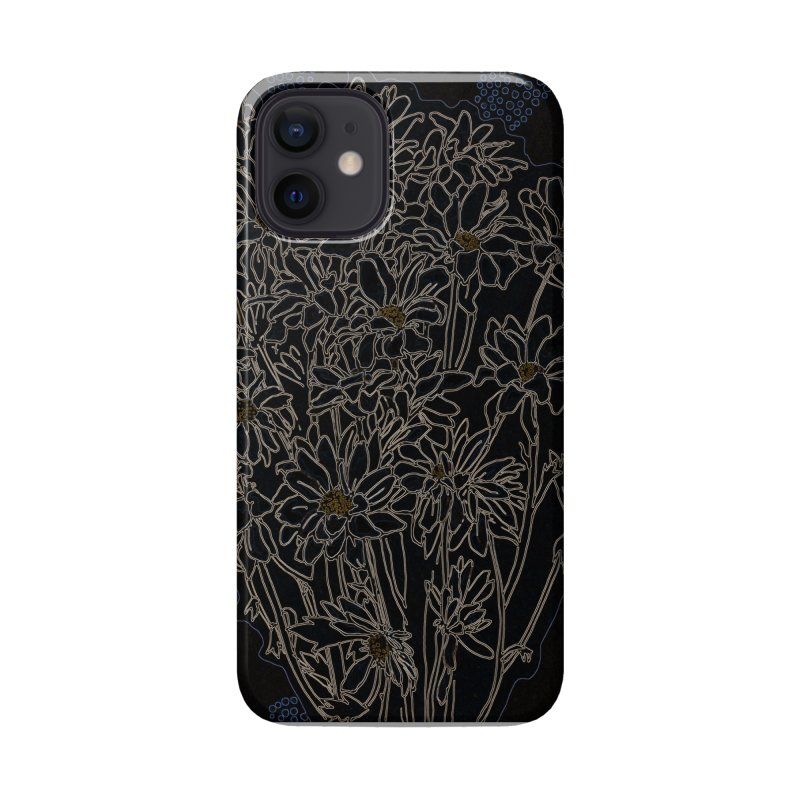 Daisy Chrysanthemum, black Accessories Phone Case by Clipso-Callipso