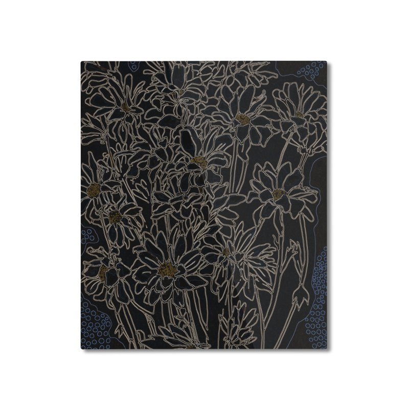 Daisy Chrysanthemum, black Home Mounted Aluminum Print by Clipso-Callipso