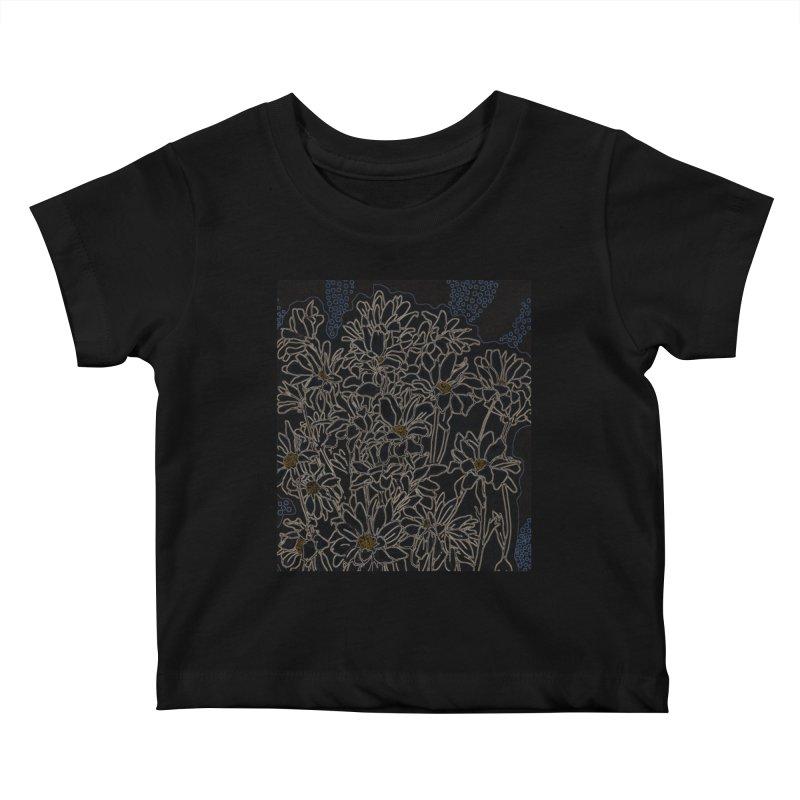 Daisy Chrysanthemum, black Kids Baby T-Shirt by Clipso-Callipso