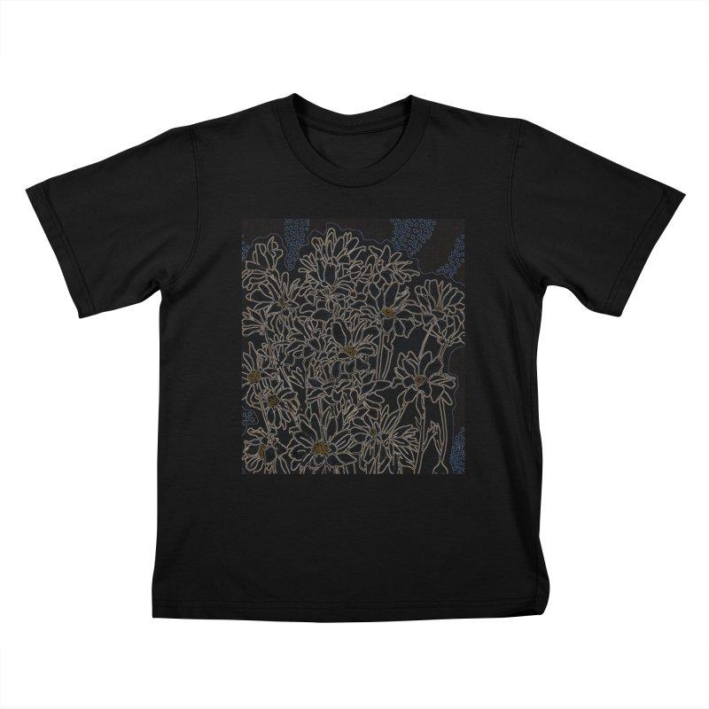 Daisy Chrysanthemum, black Kids T-Shirt by Clipso-Callipso