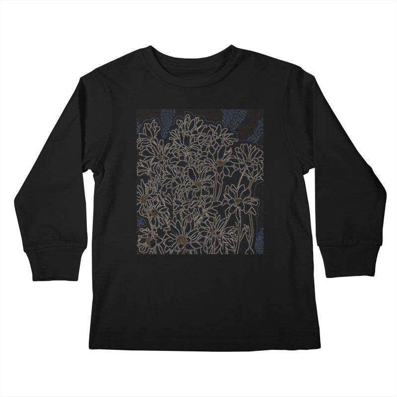 Daisy Chrysanthemum, black Kids Longsleeve T-Shirt by Clipso-Callipso