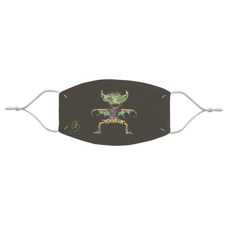 Green Demon Wearing Shorts Accessories Face Mask by Clive Barker