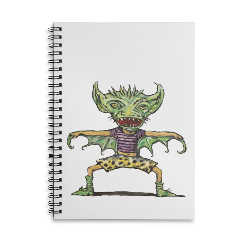 Green Demon Wearing Shorts Accessories Notebook by Clive Barker