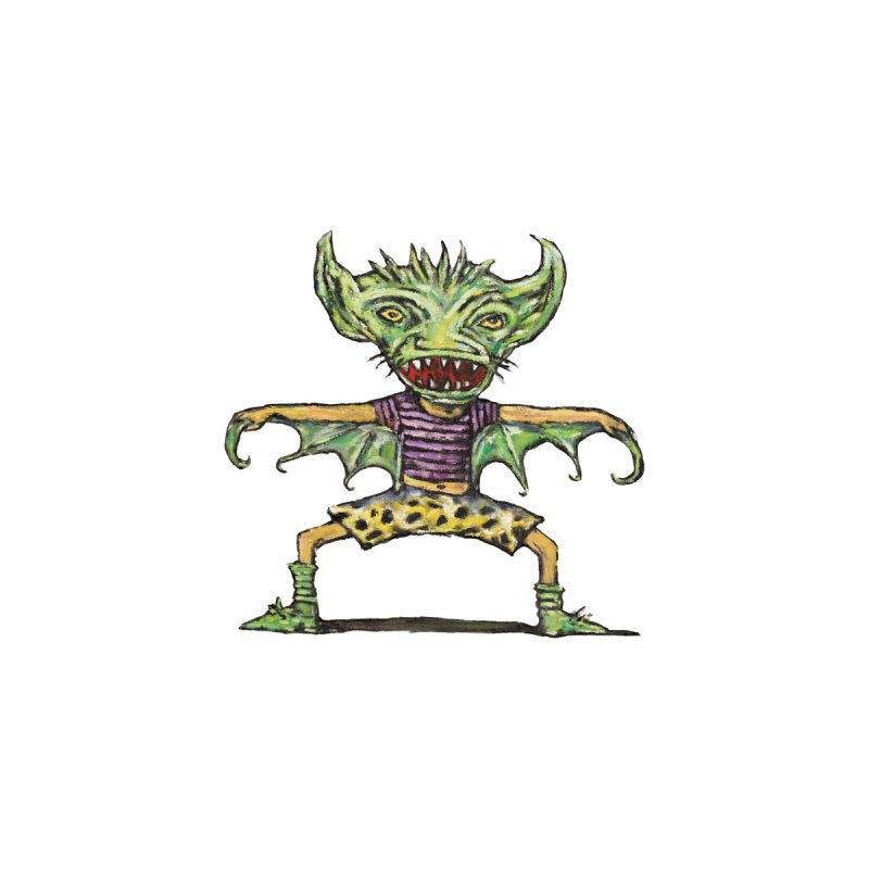Green Demon Wearing Shorts Kids Baby T-Shirt by Clive Barker