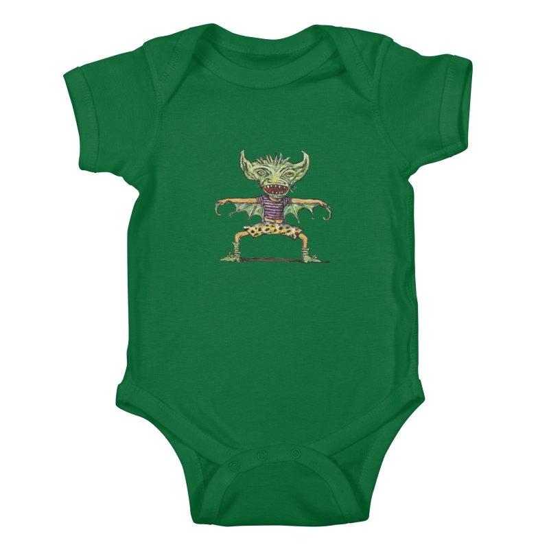 Green Demon Wearing Shorts Kids Baby Bodysuit by Clive Barker