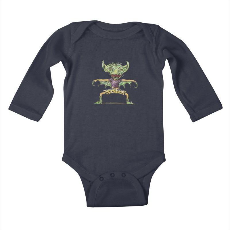 Green Demon Wearing Shorts Kids Baby Longsleeve Bodysuit by Clive Barker