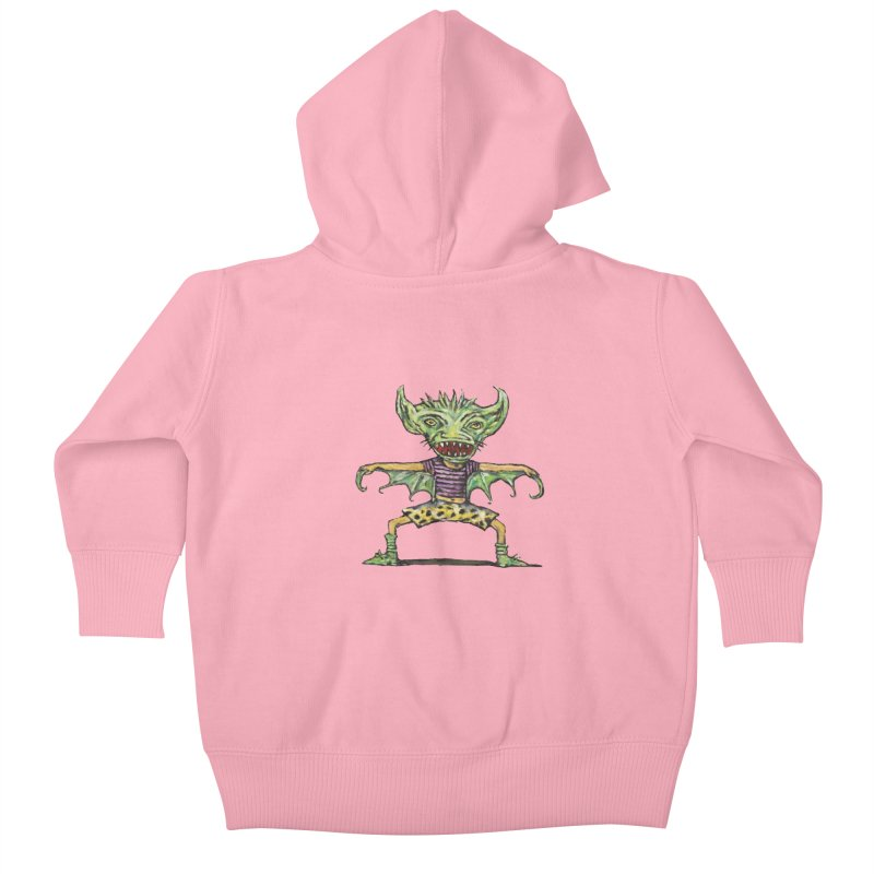 Green Demon Wearing Shorts Kids Baby Zip-Up Hoody by Clive Barker