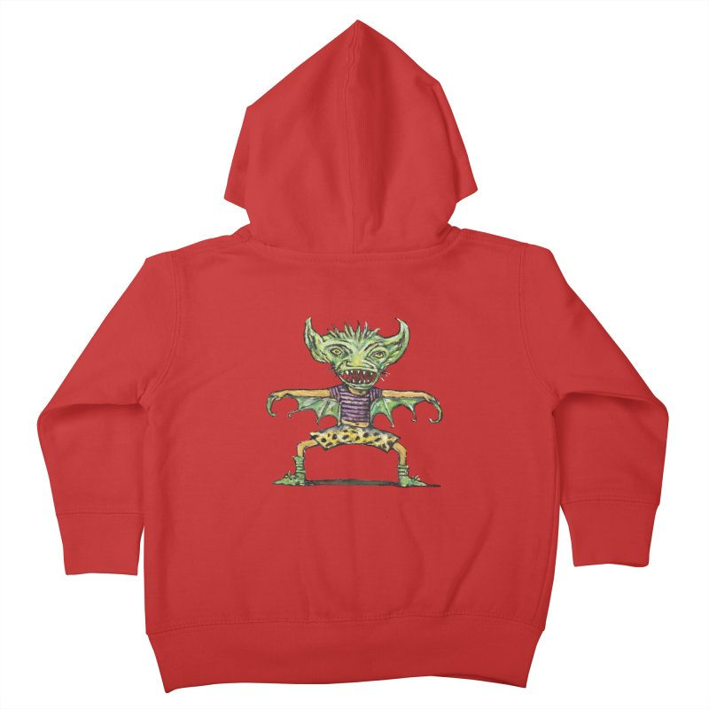 Green Demon Wearing Shorts Kids Toddler Zip-Up Hoody by Clive Barker
