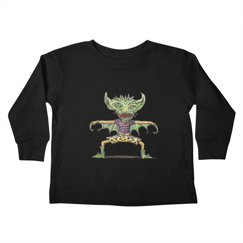Green Demon Wearing Shorts Kids Toddler Longsleeve T-Shirt by Clive Barker