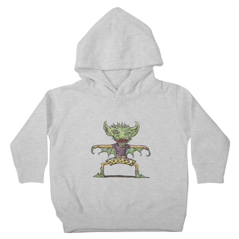 Green Demon Wearing Shorts Kids Toddler Pullover Hoody by Clive Barker