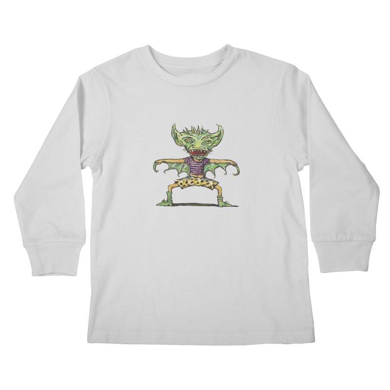 Green Demon Wearing Shorts Kids Longsleeve T-Shirt by Clive Barker