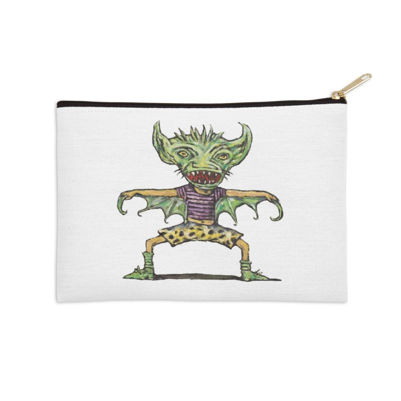 Green Demon Wearing Shorts Accessories Zip Pouch by Clive Barker