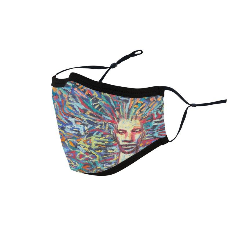 Woman with Peacock Hair Accessories Face Mask by Clive Barker