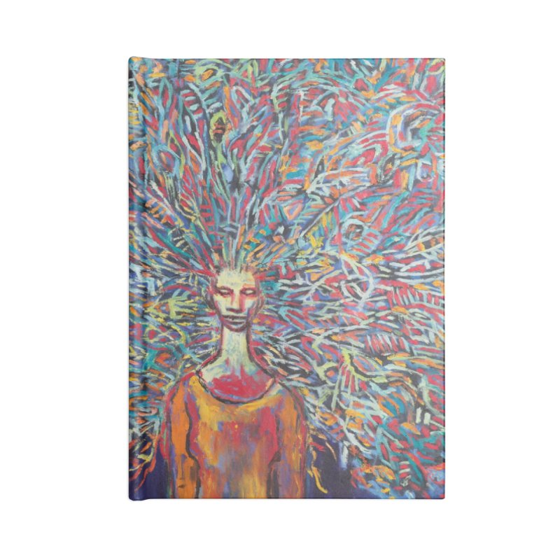 Woman with Peacock Hair Accessories Notebook by Clive Barker