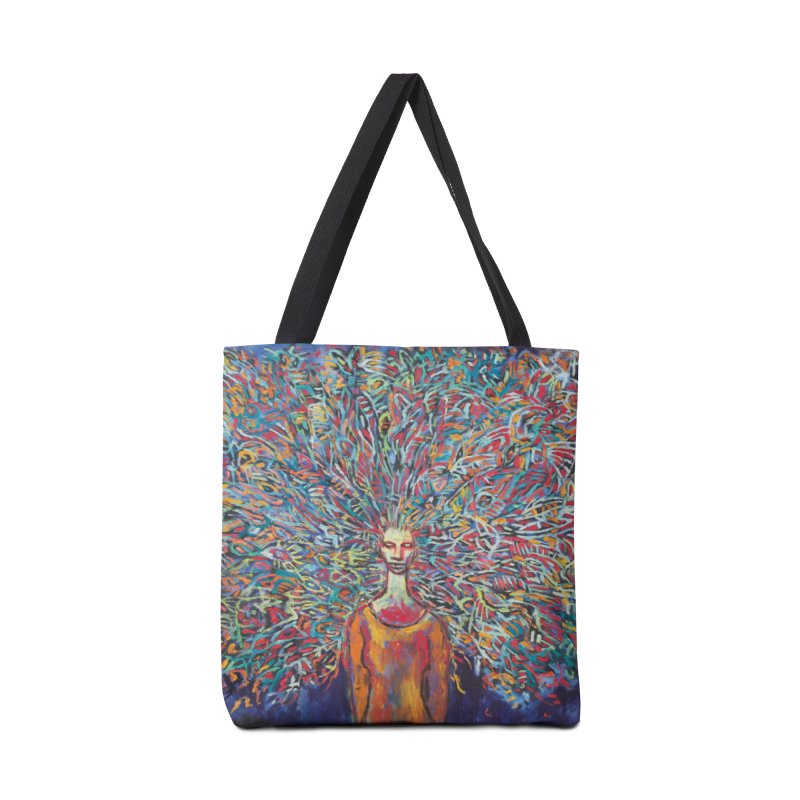 Woman with Peacock Hair Accessories Bag by Clive Barker