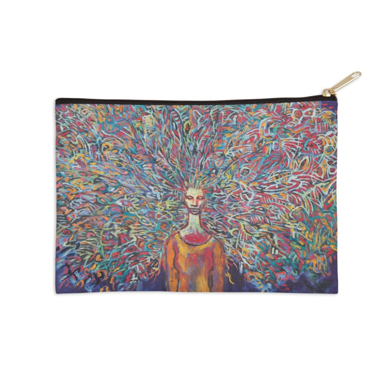 Woman with Peacock Hair Accessories Zip Pouch by Clive Barker
